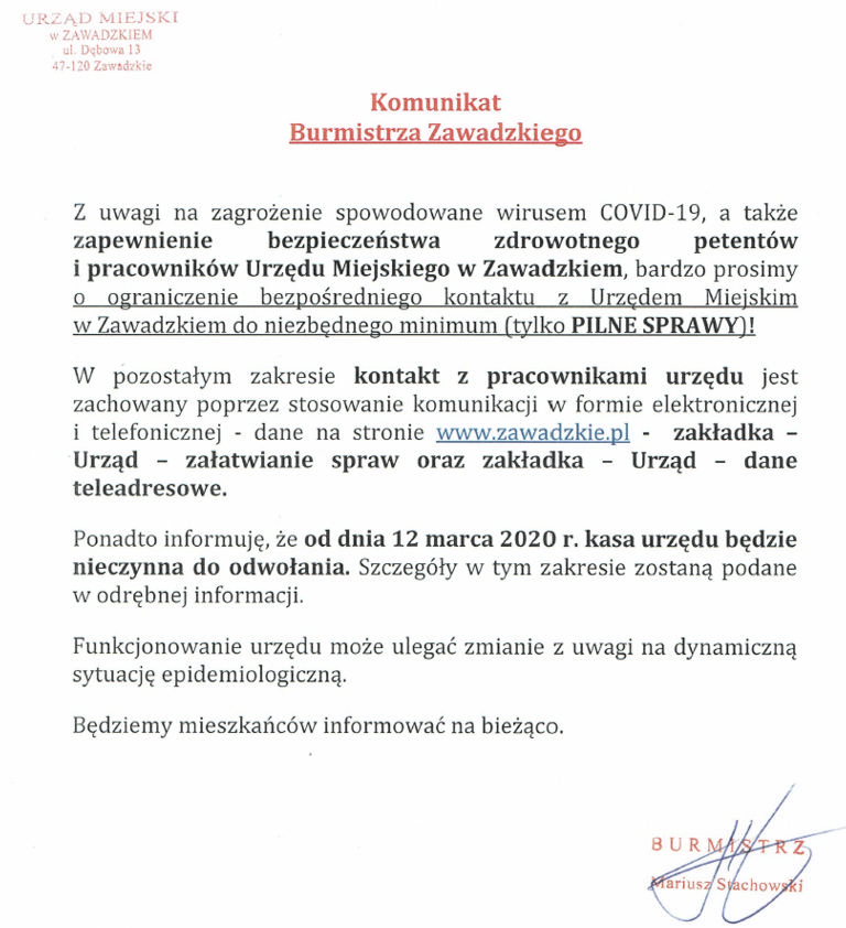 Komunikat Burmistrza Zawadzkiego.jpeg