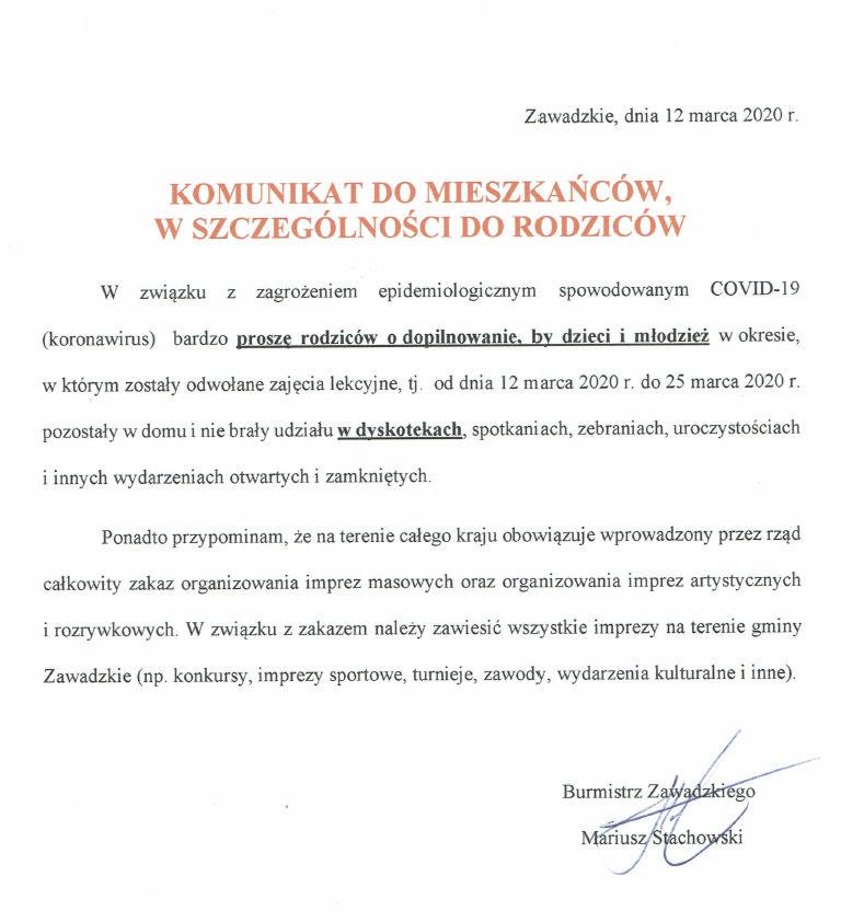 Komunikat Burmistrza Zawadzkiego do Mieszkańców.jpeg