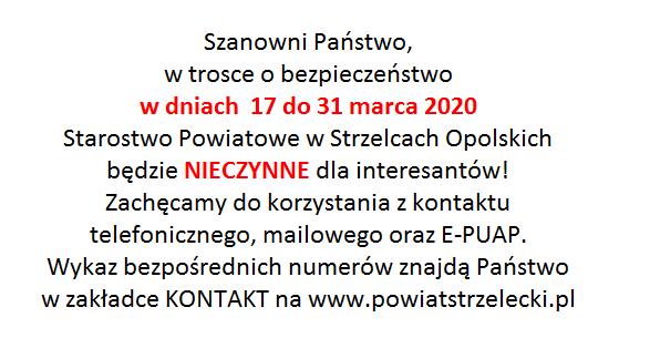 8. KOMUNIKAT ws zamknięcia dla interesantów Starostwa Powiatowego.png