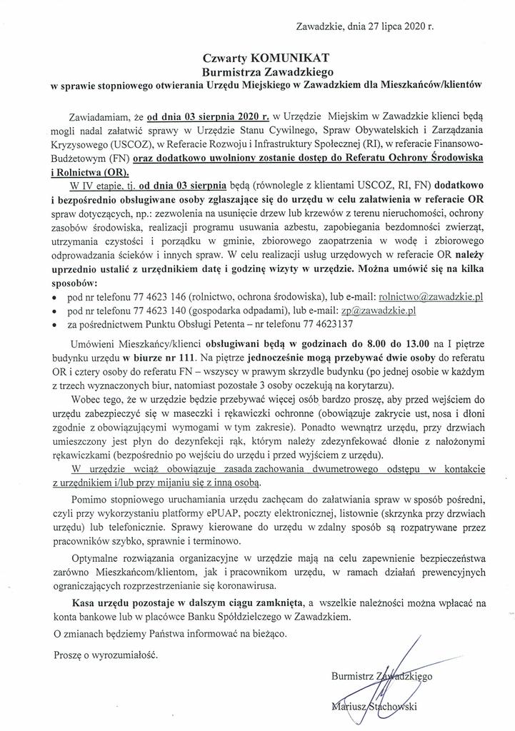 Czwarty Komunikat Burmistrza Zawadzkiego w sprawie stopniowego otwierania Urzędu Miejskiego.jpeg