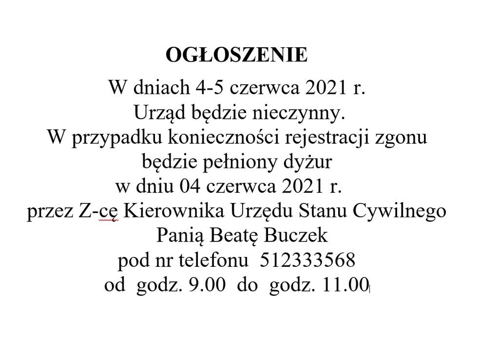 Informacja na drzwi dyżur 04.06.jpeg